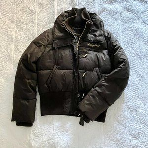 Baby Phat Brown Down Puffer Jacket Rib Knit Collar